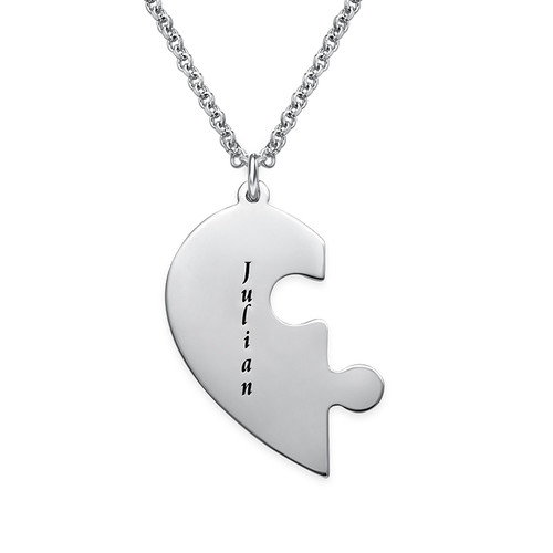 Heart Puzzle Piece Necklace Set with Engraving - 2