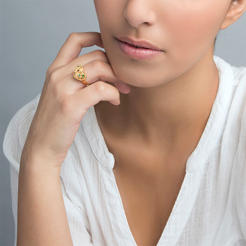 Heart Shaped Birthstone Ring with Gold Plating - 2