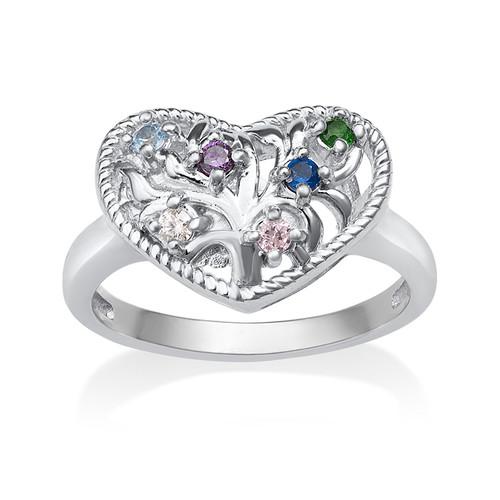 Heart Shaped Birthstone Ring - 1