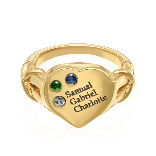 Heart Shaped Signet Mothers Ring with Birthstones - Gold Plated - 1
