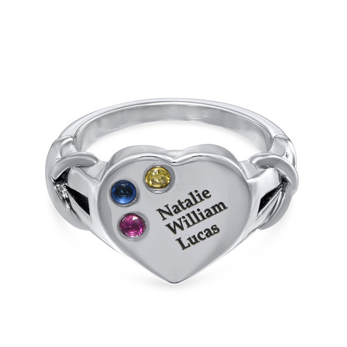 Heart Shaped Signet Mothers Ring with Birthstones - Silver - 1
