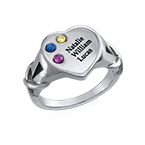 Heart Shaped Signet Mothers Ring with Birthstones - Silver