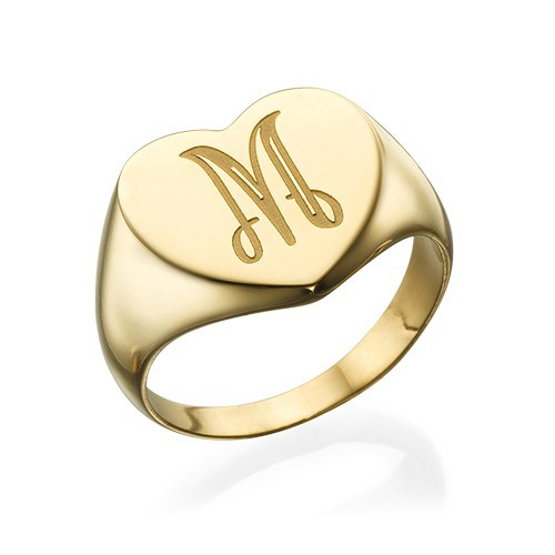 Heart Shaped Signet Ring with Initial - Gold Plated