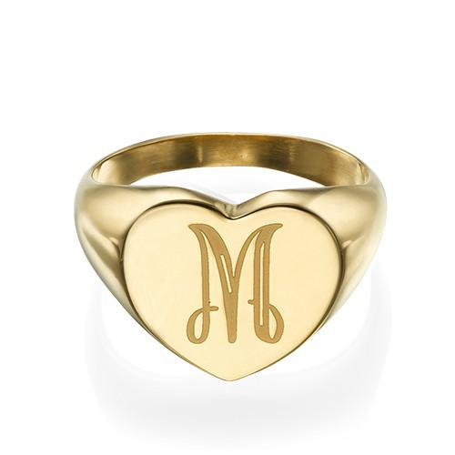 Heart Shaped Signet Ring with Initial - Gold Plated - 1