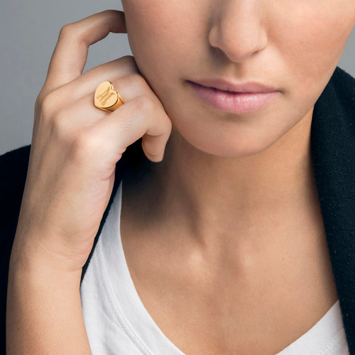 Heart Shaped Signet Ring With Initial Gold Plated