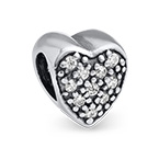Heart Shaped Silver Bead with Cubic Zirconia