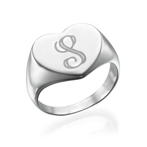 Heart Shaped Silver Signet Ring with Initial