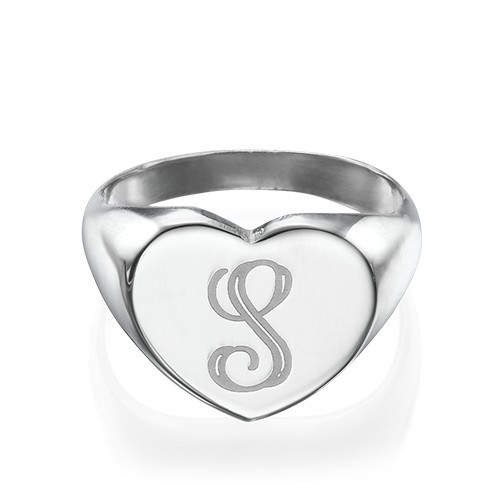 Heart Shaped Silver Signet Ring with Initial - 1