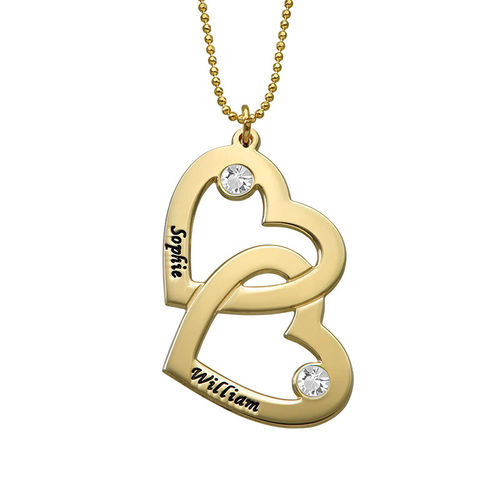 Heart in Heart Necklace with Birthstones - 10K Gold - 1