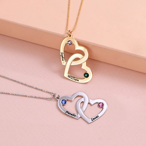 Heart in Heart Necklace with Birthstones - 10K Gold - 2