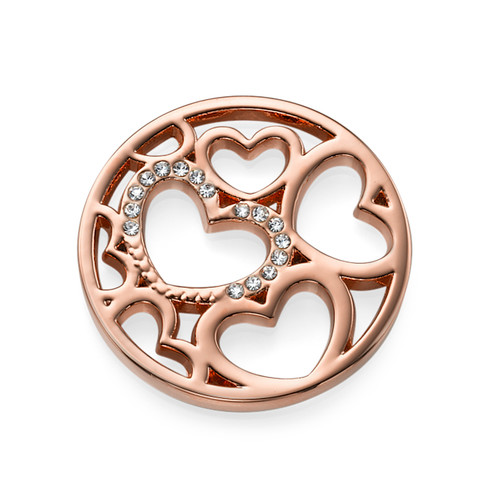 Hearts Coin in Rose Gold Plating