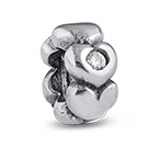 Hearts Silver Bead with Cubic Zirconia