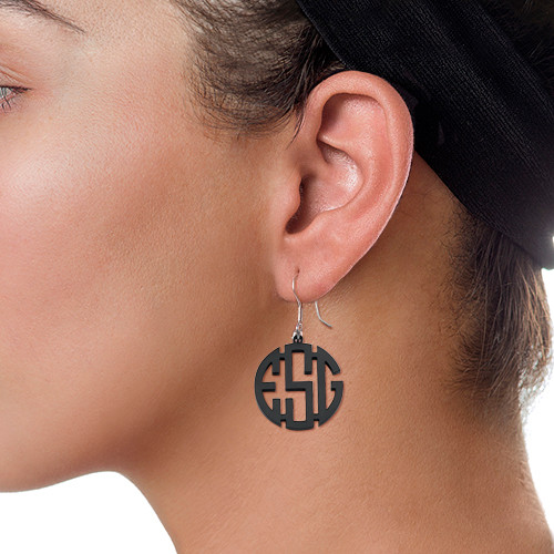 Monogram Acrylic Earrings - 1