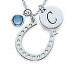 Horseshoe Jewelry with Initial Charm