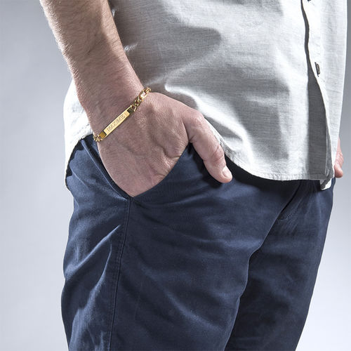 ID Bracelet for Men With Gold Plating - 1