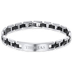 ID Bracelet for Men in Stainless Steel and Black Ceramic
