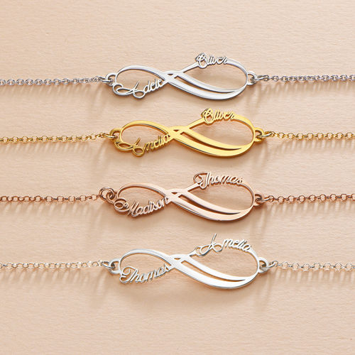 Infinity 2 Names Bracelet with Gold Plating - 3