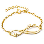 Infinity 2 Names Bracelet with Gold Plating