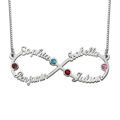 Infinity 4 Names Necklace With Birthstones Mynamenecklace
