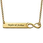 Infinity Bar Necklace with Engraving - 18K Gold Plated