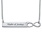 Infinity Bar Necklace with Engraving - Sterling Silver