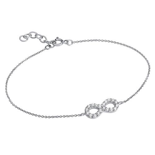 Infinity Bracelet in Silver & Cubic Zirconia