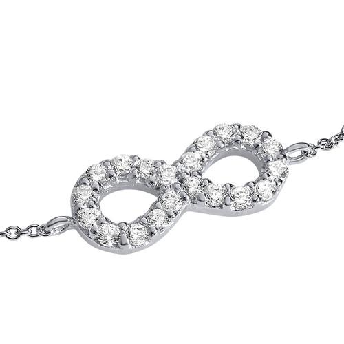 Infinity Bracelet in Silver & Cubic Zirconia - 1