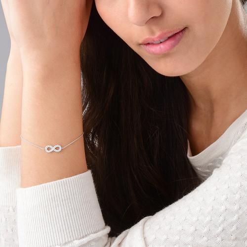 Infinity Bracelet in Silver & Cubic Zirconia - 2
