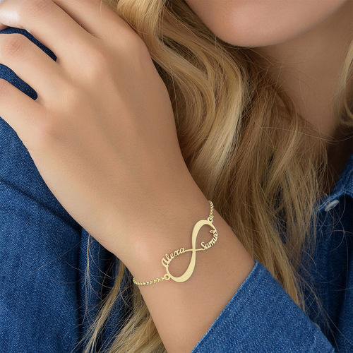 8488ce21de7241 Infinity Bracelet with Names - 18K Gold Plated | My Name Necklace