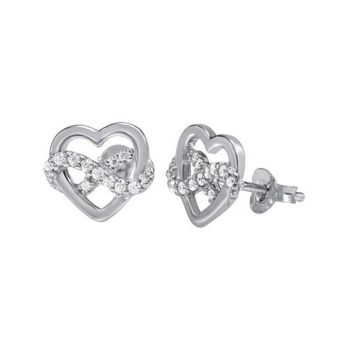 Infinity Heart Earrings in Silver & Cubic Zirconia