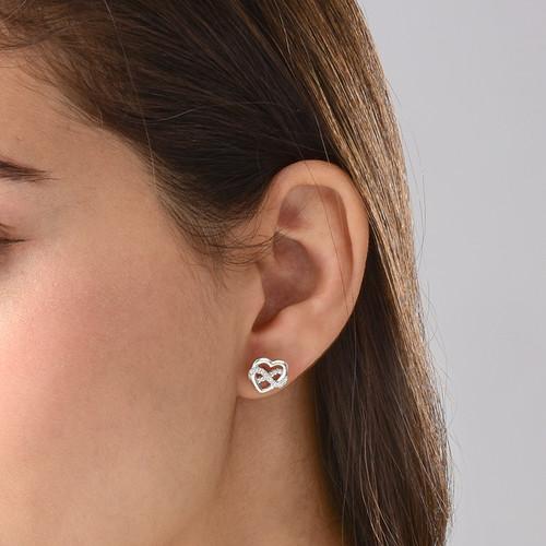Infinity Heart Earrings in Silver & Cubic Zirconia - 1