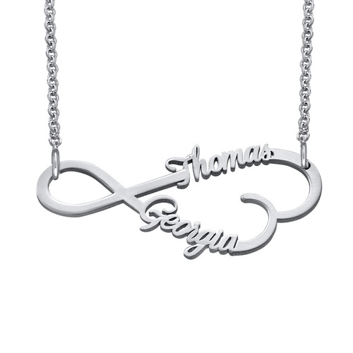 infinity heart necklace. infinity heart name necklace in silver