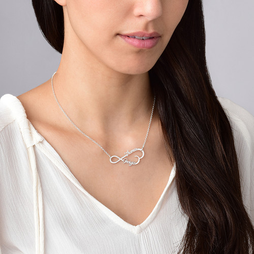 Infinity Heart Name Necklace in Silver - 1