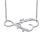 Infinity Heart Name Necklace in Silver