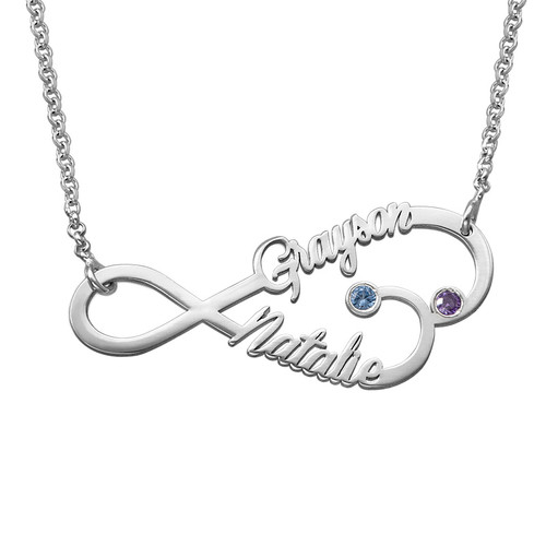 Infinity Heart Name Necklace with Birthstones