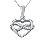 Infinity Heart Necklace in Silver & Cubic Zirconia
