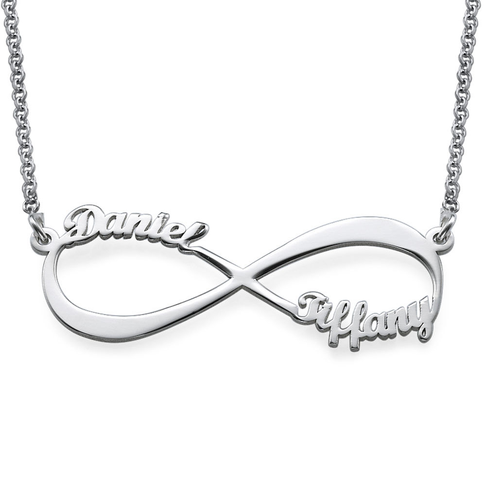 Sterling Silver Engraved Necklace Infinity Love Necklace Gift for Her