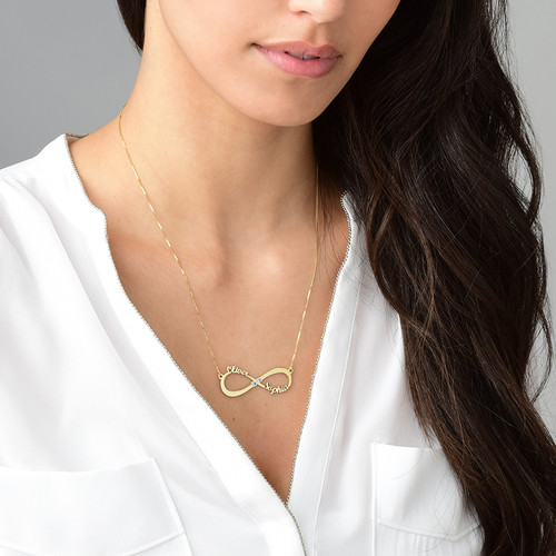Infinity Name Necklace with Birthstones  - 14k Gold - 2