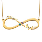 Infinity Name Necklace with Birthstones  - 14k Gold