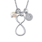 Infinity Necklace with Initial charm in Silver