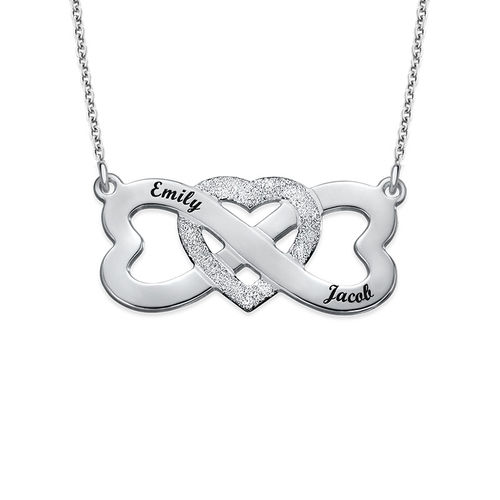 Infinity Sparkling Heart Necklace with Names