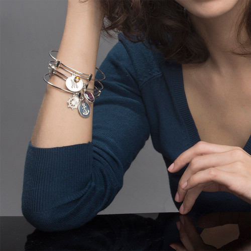 Initial Bangle with Charms - 3