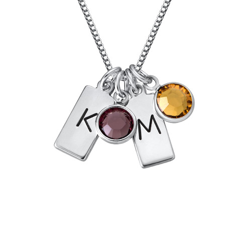 Initial Bar Necklace with Birthstones