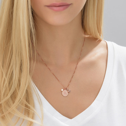 Initial Circle Necklace with pearl and rose charm in Rose Gold Plating - 3