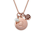 Initial Circle Necklace with pearl and rose charm in Rose Gold Plating