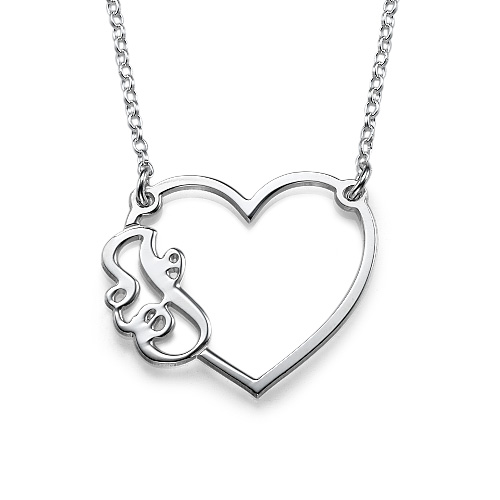 Initial Heart Necklace in Silver