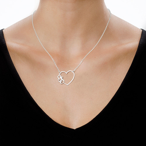 Initial Heart Necklace in Silver - 1