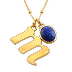 Initial Necklace in Gold Plating with Semi-Precious Gemstone