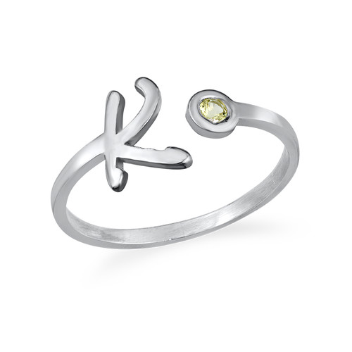 Initial Open Ring with Birthstone