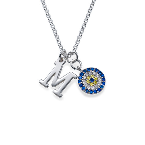 Initial Pendant with Evil Eye Charm